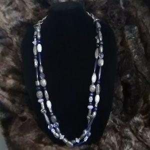Blue &, Silver Beaded belt